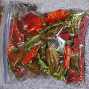 Bag of dehydrated peppers