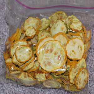 Bag of dehydrated yellow squash