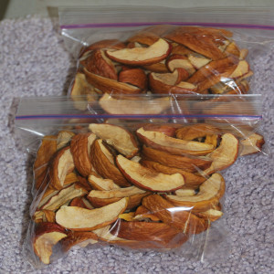 Bags of dehydrated apples